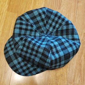 Teal and black plaid newsboy cap